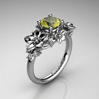 Nature Inspired 14K White Gold 1.0 Ct Yellow Topaz Diamond Leaf Vine Unique Floral Engagement Ring R1026-14KWGDYT