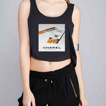 Girly White Glitter Chanel Cigarettes Packet for Crop Tank Girls S, M, L, XL, XXL *07*