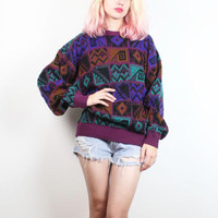 Vintage 90s Sweater Pink Black Mustard Purple Green Boyfriend Sweater 1990s Sweater Abstract Print Geometric Knit Soft Grunge Jumper L XL