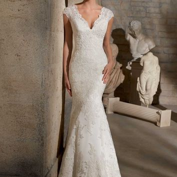 Mori Lee 2717 Fit and Flare Lace Wedding Dress with Sheer Back