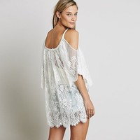 Anself Floral Lace Hippie Party Beach Dress Swimsuit Cover Up