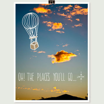 Cloud photography, dr seuss quote, typographic print, 11x14 fine art, hot air balloon graphic