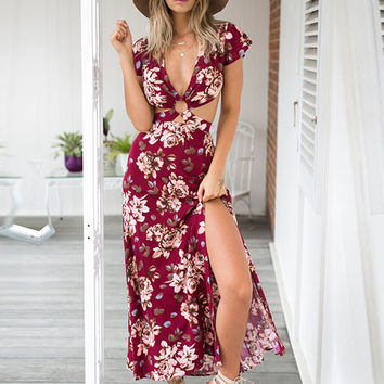 Bohemian Style Flowers Printed V-neck Wine Red Short Sleeve Maxi Split Dress Open Back