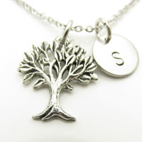 Tree Necklace, Tree of Life Necklace, The Giving Tree Necklace, Personalized, Initial Necklace, Monogram Necklace, Antique Silver Tree Y407