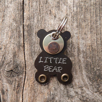 Pet Tag Dog Tag ID Artisan Charm Teddy Bear Toy Minator Copper Aluminum Custom Rivets Stamped Keychain Pendant