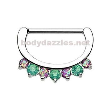 Pair of Classic Purple and Teal Opal Sparkle Nipple Clicker 316L Surgical Steel Nipple Barbells