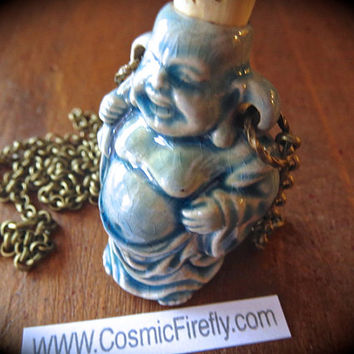 Buddha Necklace Blue Ceramic Bottle Necklace Blue Raku Crackle Finish Costume Jewelry Holds Essential Oils Urn Necklace