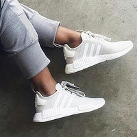 ADIDAS Women Men NMD Running Sport Casual Shoes Sneakers Beige