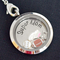 Hand Stamped Super Mom Floating Locket Keychain | Memory Locket with Personalized Disc