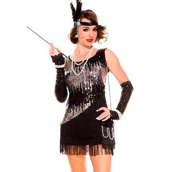 Ladies 20s 1920s Black Flapper Gangster Gatsby Fancy Dress Sequin Halloween Carn