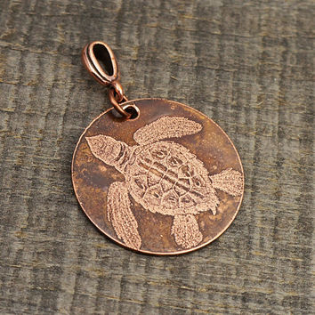 Etched turtle pendant, round flat copper, sea ocean life, optional necklace, 28mm