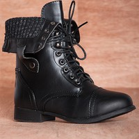 Forever Bring The Battle Sweater Cuff Fold Down Lace Up Combat Boots Beyonce-11 - Black