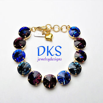 Stormy night, Swarovski 12mm Crystal Bracelet, Bridal, Gold Setting, Dark Neutrals, Adjustable, DKSJewelrydesigns,FREE SHIPPING