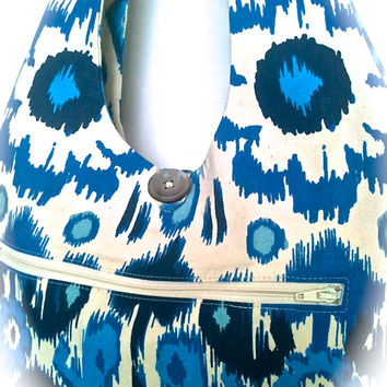 Purse REVERSIBLE Cotton Shoulder Bag Slouch Bag Hobo Bag Blue IKAT Fabric by 8th Day Studio