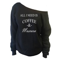 Coffee and Mascara Off-The-Shoulder Wide Neck Slouchy Oversized Sweatshirt