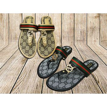 GUCCI Fashion Women Casual Retro Flat Sandal Slipper Shoes