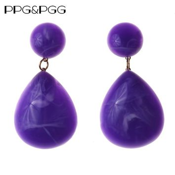 PPG&PGG Simply Fashion Resin Dangle Earrings For Women Bijoux Pinky Color Bohemian Statement Earrings Holiday Jewelry Hot Sale
