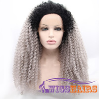 "20"" Long Curly without Bangs Synthetic Wigs for Women Lace Front Wigs Colorful"