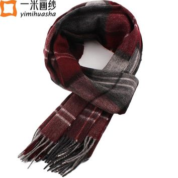 2016 winter unisex men and women luxury brand cashmere plaid travel blanket scarf delicate tartan tassel shawl and wrap