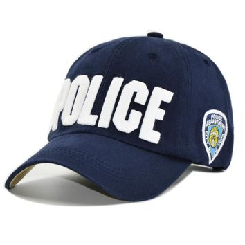 HAPPYTAIL New POLICE Baseball Caps Men Letter Embroidered Cotton Dad Hat for Women Casual Snapback Hats Adjustable