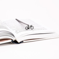 Bookmark Bicycle laser cut metal powder coated black Stylish unique gift for book lover Free shipping.