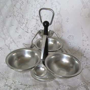 Vintage Condiment Serving Tray Stand with Spoons made in Italy