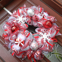 Deco Mesh Christmas Wreath, Metallic Candy Cane wreath, peppermint xmas wreath, Red Silver holiday wreath