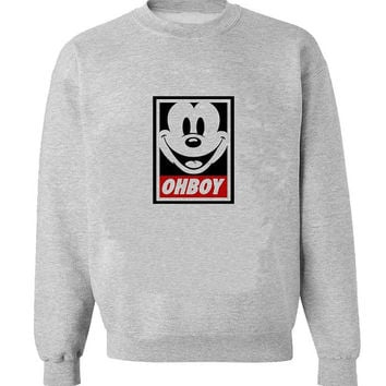 oh boy mickey mouse sweater Gray Sweatshirt Crewneck Men or Women for Unisex Size with variant colour