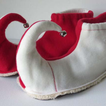 Elf Shoes: Red and White Adult Small, Medium, Large & X-Large