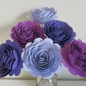 "Purple Ombre Rose Bouquet for Valentine, 6 Stemmed 3"" Paper Flowers"