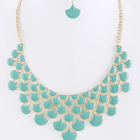 Lacquered Droplet Stacked Bib Necklace and Earring Set