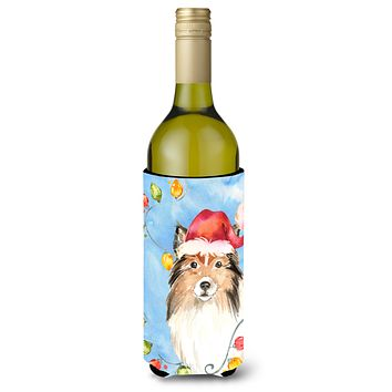 Christmas Lights Sheltie Wine Bottle Beverage Insulator Hugger CK2492LITERK