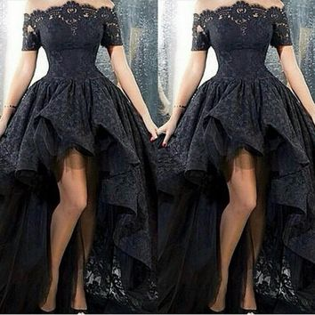 2017 Black Lace Off-Shoulder High Low Prom Dress Sexy Vestido De Festa Arabic Design Ruched Formal Evening Gown Short Front