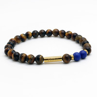Brown and Blue Bead Bracelet