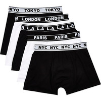 River Island MensBlack cities boxer shorts pack