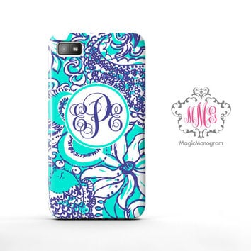 Sea Foam Montauk Lilly Pulitzer Monogram Blackberry Case Z10, BB Q10 Case