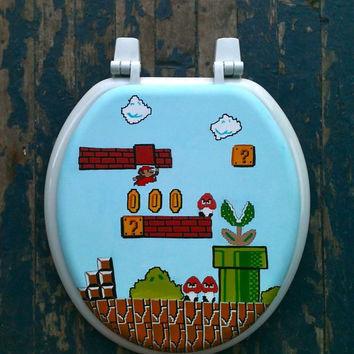 Mario Hand Painted Toilet Seat Nintendo Geekery by DebbieIsAdopted