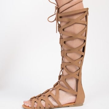 Tall Lace Up Gladiator Sandals - 6