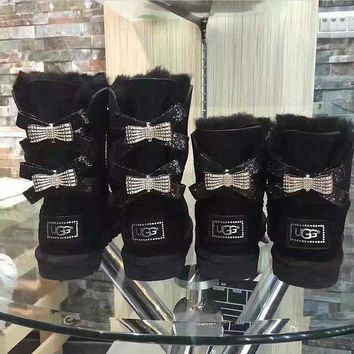 PEAP UGG Hot style wool queen diamond bow ultra female beauty with thick warm ugg boots two