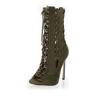 Khaki RI Studio leather lace-up heeled boots