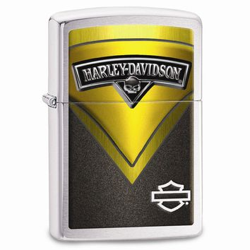 Zippo Harley Davidson Yellow Tank Brushed Chrome Lighter
