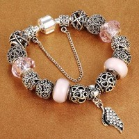 High Quality Angel's Wings Charms Bracelets fits Pandora Bracelet newest design jewelr