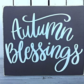 Autumn Blessings Fall Rustic Sign | Fall Farmhouse Decor | Shabby Chic Wall Decor