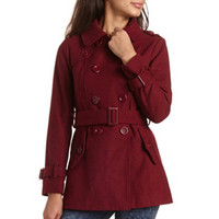 BELTED DOUBLE-BREASTED WOOL COAT