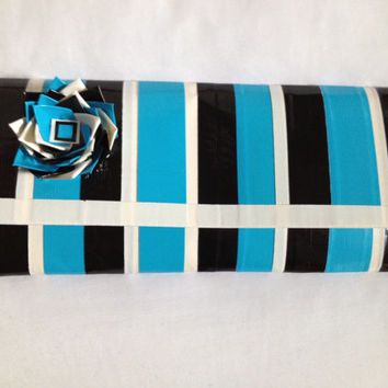 Black, Blue and White Duct Tape Ladies Wallet