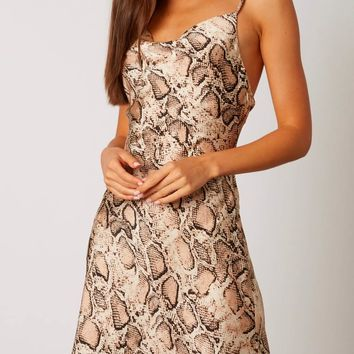 Satin cowl neck snake print mini dress - Tan