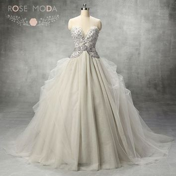 Rose Moda Silver Grey Tulle Wedding Ball Gown Crystal Princess Wedding Dress Lace Up Back 2018