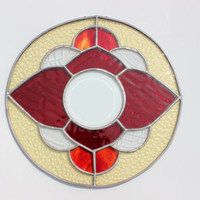 Vintage Stained Glass Flower Window Hanging Panel, Autumn Home Decor, Circle Shaped Stained Glass Window