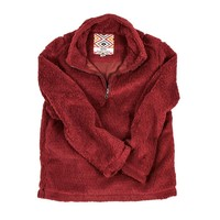 YOUTH Silky Pile Pullover 1/4 Zip in Red by True Grit