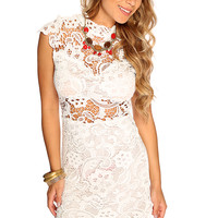 White Floral Crochet Overlay Sexy Short Party Dress